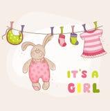 Behandla som ett barn Bunny Shower Card Royaltyfria Foton
