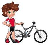 behandla som ett barn cyklisten Arkivbilder