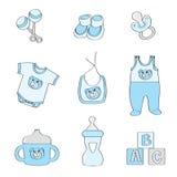 behandla som ett barn den blåa seten för pojkefärgelement royaltyfri illustrationer
