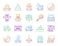 Behandla som ett barn den enkla färglinjen symbolsvektoruppsättning för leksaken royaltyfri illustrationer