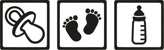 Behandla som ett barn den falska fotspårflaskan för symboler stock illustrationer