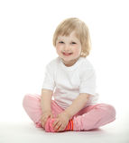 behandla som ett barn den gladlynt flickan Arkivbild