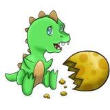 Behandla som ett barn den gröna dinosaurien Royaltyfri Foto