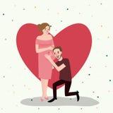 Behandla som ett barn den gravida mamman för par som förväntar, den lyckliga den förälskelserelationahipmaken och frun Royaltyfria Foton