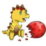 Behandla som ett barn den gula dinosaurien Royaltyfri Bild