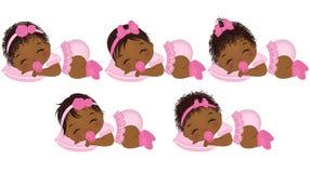 Behandla som ett barn den gulliga afrikanska amerikanen för vektorn flickor med olika frisyrer royaltyfri illustrationer