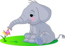 behandla som ett barn den gulliga elefanten royaltyfri illustrationer