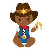 Behandla som ett barn den gulliga lilla afrikanska amerikanen för vektorn pojken som kläs som cowboy stock illustrationer