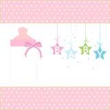 Behandla som ett barn den hängande stjärnor för flickahälsningkortet och flaskvektorn Arkivfoton