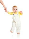 Behandla som ett barn den isolerade första steg Arkivbild