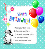 Behandla som ett barn den lyckliga födelsedagkortbluen Arkivbild