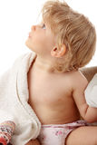 behandla som ett barn den lyckliga handduken Royaltyfria Foton