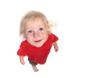 behandla som ett barn den lyckliga seende skyen för pojken till upp Royaltyfri Foto