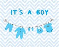 behandla som ett barn den nya duschen för det födda pojkekortet Royaltyfri Fotografi