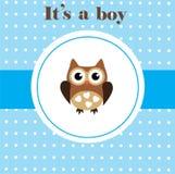 behandla som ett barn den nya duschen för det födda pojkekortet Arkivfoto