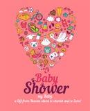 behandla som ett barn den nya duschen för det födda pojkekortet Royaltyfria Foton