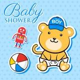behandla som ett barn den nya duschen för det födda pojkekortet Arkivbilder