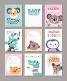 behandla som ett barn den nya duschen för det födda pojkekortet stock illustrationer