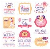 behandla som ett barn den nya duschen för det födda pojkekortet vektor illustrationer