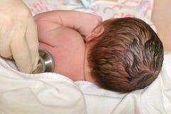 behandla som ett barn den nyfödda examenläkarundersökningen Royaltyfri Foto