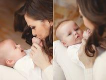 behandla som ett barn den nyfödda lyckliga modern Royaltyfria Foton