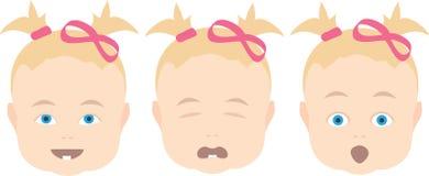 behandla som ett barn den olika uttrycksframsidaflickan Royaltyfri Bild