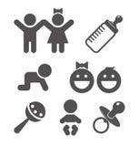 Behandla som ett barn den plana symbolen stock illustrationer