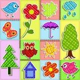 behandla som ett barn den seamless patchworken för bakgrundsbirdhousesfåglar Royaltyfri Bild