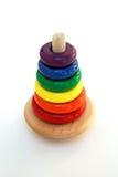 behandla som ett barn den träklassiska färgrika toyen Arkivbilder