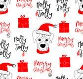 Behandla som ett barn den utdragna vektorillustrationen för handen med ett gulligt hunden fira att fira glad jul - sömlös modell stock illustrationer