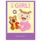 Behandla som ett barn designen för flickahälsningkortet Arkivfoto