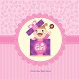 Behandla som ett barn designen för flickahälsningkortet Royaltyfri Bild