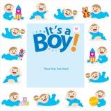 Behandla som ett barn designen för pojkehälsningkortet Royaltyfri Fotografi