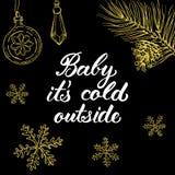 Behandla som ett barn det förkylning för ` s utanför! Räcka utdragna grafiska beståndsdelar Royaltyfri Bild