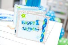 Behandla som ett barn det första födelsedagpartiet för pojken - gästbok Arkivfoto