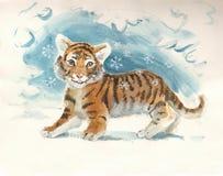 behandla som ett barn det nya tigeråret Arkivbild