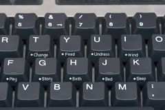 behandla som ett barn det täta datortangentbordet för knappar upp Arkivbild