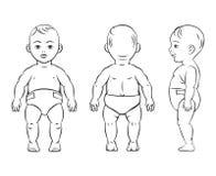 Behandla som ett barn diagramet Framdel-, sido- och baksidasikt stock illustrationer