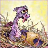 Behandla som ett barn draken i ett rede stock illustrationer