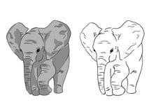 Behandla som ett barn elefanten skissar på vit bakgrund Ställ in av enkel teckning av elefanten stock illustrationer