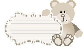 Behandla som ett barn etiketten Teddy Bear Arkivbilder