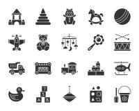 Behandla som ett barn för kontursymboler för leksaken den svarta uppsättningen för vektorn royaltyfri illustrationer