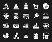 Behandla som ett barn för kontursymboler för leksaken den vita uppsättningen för vektorn stock illustrationer