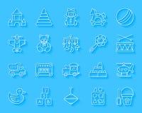 Behandla som ett barn för papperssnittet för leksaken den enkla uppsättningen för vektorn för symboler vektor illustrationer