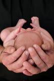 behandla som ett barn faderhänder s Arkivbild