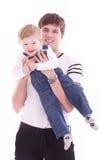 behandla som ett barn fadern hans joyful son Royaltyfri Fotografi
