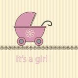Behandla som ett barn flickaankomstkortet Arkivbild