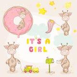 Behandla som ett barn flickagiraffuppsättningen vektor illustrationer