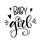 Behandla som ett barn flickalogocitationstecknet Utdragen grotesk bokstäver för baby showerhand, kalligrafiuttryck royaltyfri illustrationer