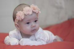 Behandla som ett barn flickan 2 månader med blommor på hennes huvud på en röd överkast, mjukt ljus, mjuk fokus arkivbild